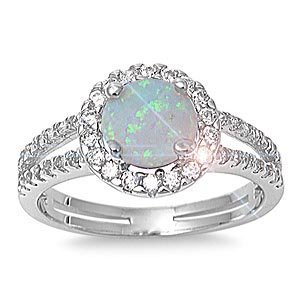 - THE ICE EMPIRE JEWELRY, LCC ALL NATURAL GENUINE GEMSTONE- 6mm 1.15ctw Sterling Silver Solitaire OCTOBER MYSTIC FIRE WHITE OPAL ROUND BIRTHSTONE Channel Band Pave Cz Accents Ring 5-10 (10) (6)