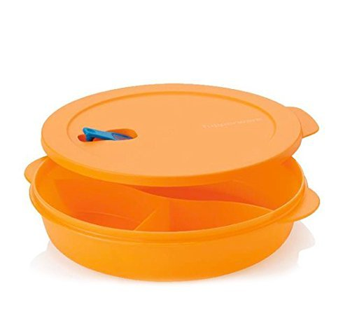 Tupperware Crystalwave Divided Dish in Coral Crush/Melon