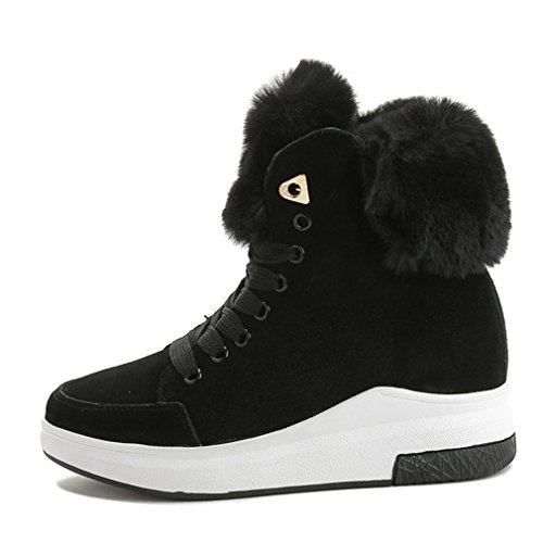 Chaude en Confortable Mode JRenok Basket Noir Chaussure Femme avec Peluche Semelle Fourrée Plate Velours Botte Bottine et pour q0aaxnI