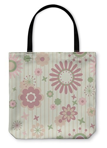 Gear New Shoulder Tote Hand Bag, Striped Floral Wallpaper, 18x18, 825053GN