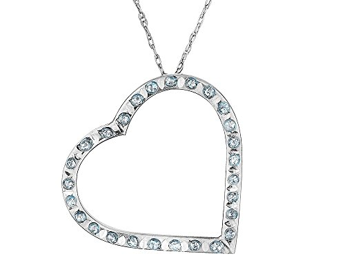 - Accent Diamond Floating Heart Pendant Necklace in 14K White Gold with Chain