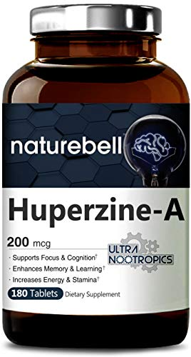 - Maximum Strength Huperzine A Tablets 200mcg, 180 Counts, Powerful Ultra Nootropics Supports Focus & Cognition, Enhances Memory & Leaning Ability, No GMO, Tested & Made in USA