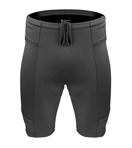 Mens Gel Padded Spandex Bicycle Touring Shorts (X-Large, Black)