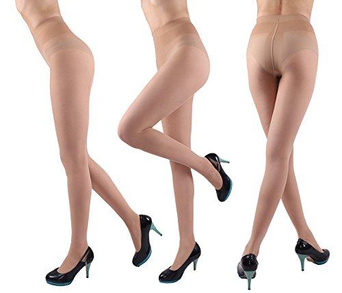 CozyWow Womens T Crotch 20 Denier Durable Full Length Spandex Sheers Pantyhose (Nude)