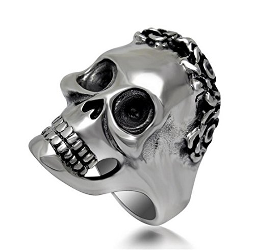 PSRINGS Domineering Skeleton Rings Europe Style Stainless Steel Exaggerated His Ring Cool Personality Accessory 10.0