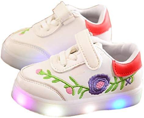 プリンセス シューズ LED ライト 子供靴 (ダクレ) 新しい フラッシング シューズ ボーイズ ガールズ フラワー 刺繍 スニーカー シューズ