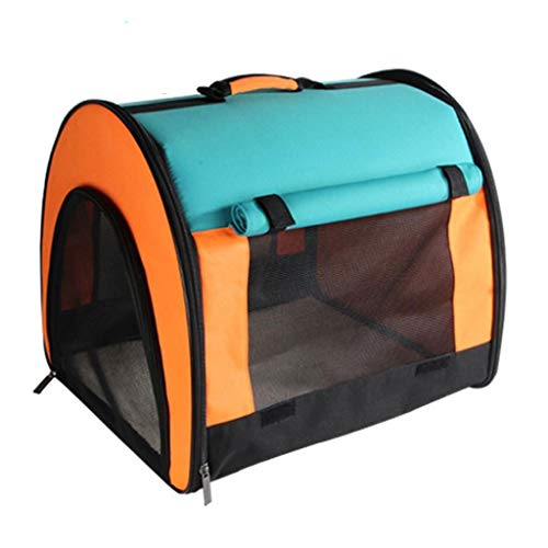 FJH Tent Pet Box Orange Mosaic Cage Folding Portable Cat and Dog Travel Transport Car Out of Consignment 484341cm