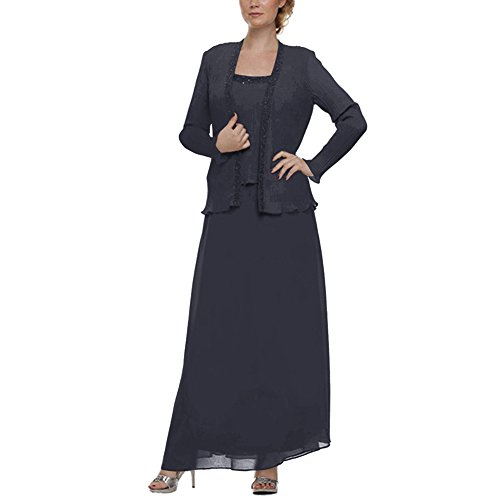 H.S.D Mother of the Bride Dress Chiffon Long Formal Gowns with Jacket Navy Blue ()