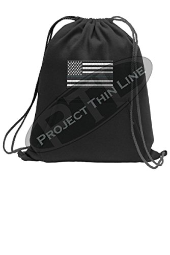 Thin SILVER Line Embroidered Flag Cinch Sack Backpack Corrections Officer Prison Guard