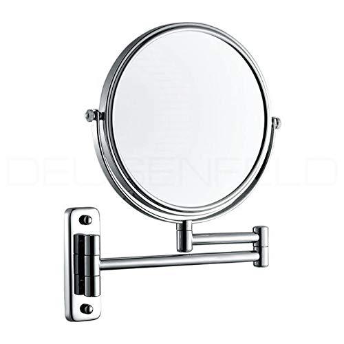 DEUSENFELD K10C - Doppel Wand Kosmetikspiegel, Rasierspiegel, Schminkspiegel, 10-Fach Vergrößerung und Normalspiegel, Ø 20cm, MS verchromt