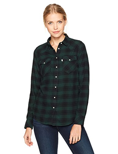 Levi's Women's Tailored Classic Western Shirt, yew Pine Grove, Medium