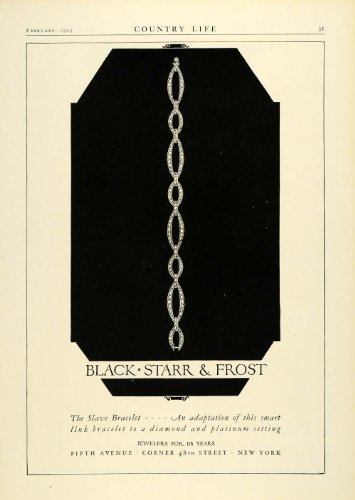 1925 Ad Black Starr & Frost Slave Bracelet Fifth Avenue 48th Street New York - Original Print Ad (48th Street)