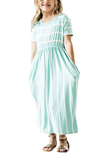 Lovezesent Girls Cute Striped Long Maxi Party Dress Summer Short Sleeves Casual Loose Floor Length Dresses with Pockets Size 6-7 Years Mint by Lovezesent