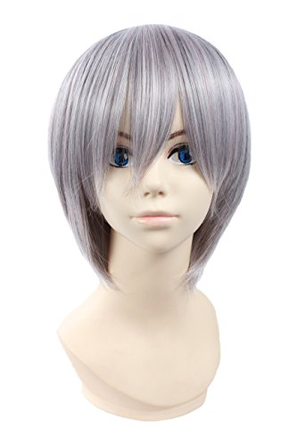 Angelaicos Lolita Harajuku Style Halloweeen Anime Cosplay Party Costume Full Wigs (Light Gray) -