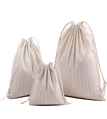 3PCS Cotton Linen Stripe Durable Drawstring Storage Bag Pouch For Toiletry Candy (A-Off white) -
