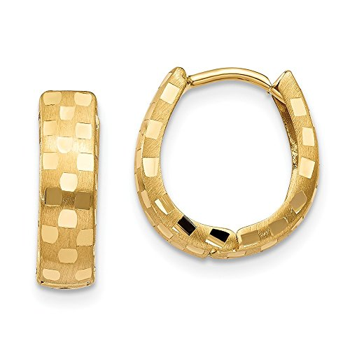 14K Yellow Gold Diamond Cut 14mm Patterned Hinged Hoop (14k Gold Hinged Hoop Earrings)