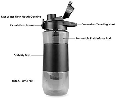 Opard Fruit Infuser Water Bottle 28 oz BPA Free Reusable Plastic Water Bottle for Sports with Flip Top Lid Handle Recipes and Cleaning Brush