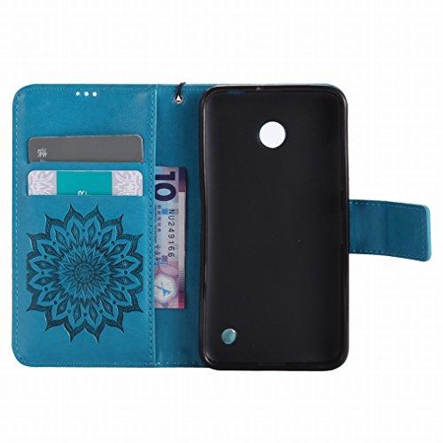 LEMORRY Nokia Lumia 630 Custodia Pelle Cuoio Flip Portafoglio Borsa Sottile Bumper Protettivo Magnetico Morbido Silicone TPU Cover Custodia per Nokia Lumia 630, Fiorire Blu