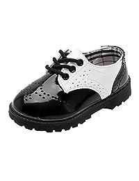 WUIWUIYU Toddlers Little Big Boys Girls Oxfords Dress School Uniform Lace-Up Brogue Leather Shoes