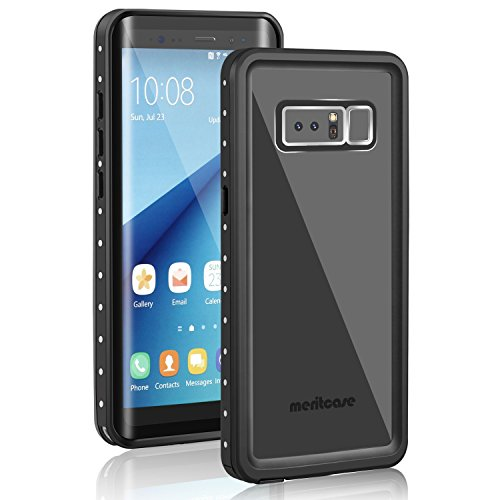 Black Snowmobiles (Samsung Galaxy Note 8 Waterproof Case, Meritcase Galaxy Note 8 IP68 Waterproof Full Body Snowproof Dustproof Shockproof Case with Kickstand for Snowmobile Swimming Surfing Diving-- (Black/Clear))