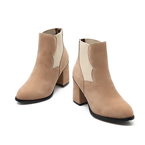 High Heels WeenFashion Closed Boots Round Flock on Women's Beige Pull Toe Solid 4twtq7fcWE