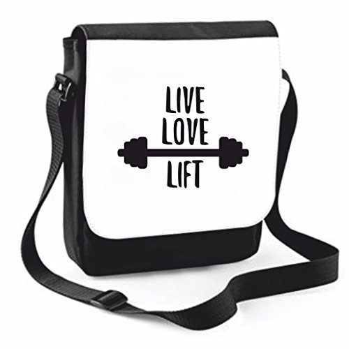 Black Statement I Traveling Messenger Live Bag Crossbody Handbag Laugh Love Medium Cover To And Shoulder Lot Large Case A Compartment qUnq0r