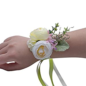 Flonding Girl Bridesmaid Wedding Wrist Corsage Bride Wrist Flower Corsages Wristband for Wedding Prom Party Homecoming Hand Flowers Decor 84