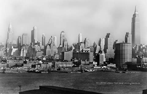 c1932 photo Midtown skyscrapers from Weehawken Skyline of New York City, showing Chrysler Building on left and the Empire State Building on right. Vintage 8x10 Photograph - Ready to - Empire State Building Photographs