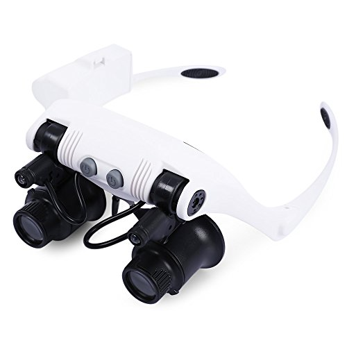 (Head Mount Magnifier with 2 Bright LED Interchangeable Headband Magnifying Glasses Style with 10X 15X 20X 25X Lens)