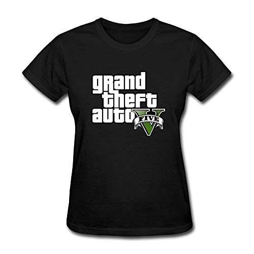 Price comparison product image Aozeen Women's Grand Theft Auto V Logo Cotton Casual Short Sleeve T-Shirt Tee Black