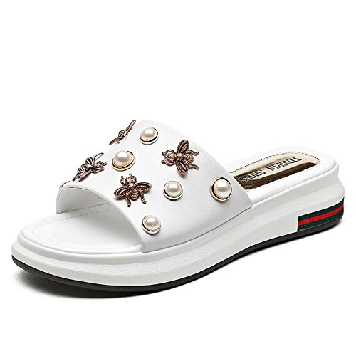 Spring Comfort Heel Casual Toe Slippers Flat Comfortable Women's White Open PU Shoes for MEIDUO ICwxaqwT