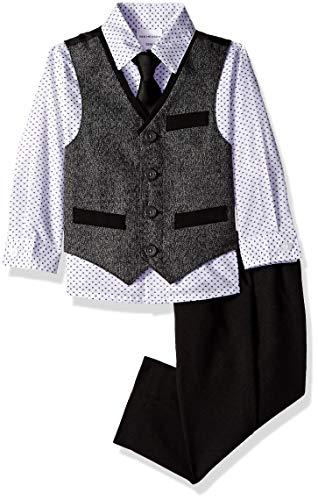 Van Heusen Baby Boys 4-Piece Patterned Dresswear Vest Set, Light Silver Smoke, ()