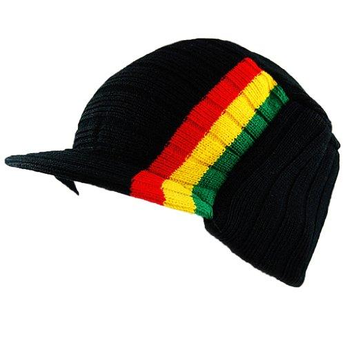 Rasta Visor Beanie Skull Cap Stripe Jamaica Reggae for sale Delivered  anywhere in USA c78421db5b59