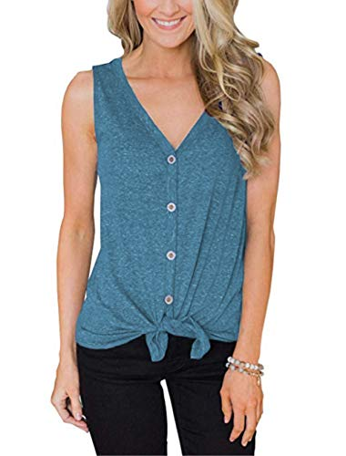 - Womens Waffle Knit Tunic Blouse Henley Tops Button Up Tie Front Plain Shirts(Light Blue-20 XL)