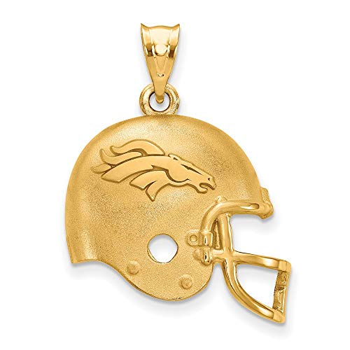NFL Sterling Silver Gold-Plated LogoArt Denver Broncos Football Helmet Pendant