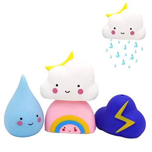 Soft Watering Bath Toys for Kids, Baby Hair Wash Tool DEMEDO Rain, Cloud, Rainbow, Thunder Cloud Bathtub /& Swimming Pool Toys Gift Set Pack of 4