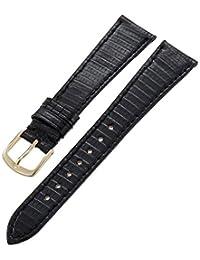 Hadley-Roma Men's MSM701RA-180 18mm Black Genuine Lizard Leather Watch Strap
