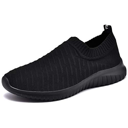 LANCROP Women's Comfortable Walking Shoes - Lightweight Mesh Slip On Athletic Sneakers 9 M US Black