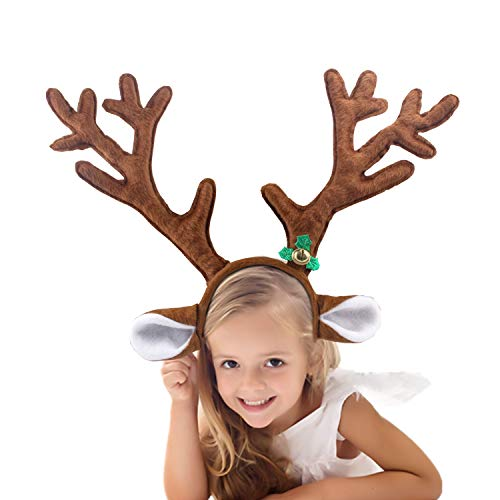 SSUNINESS Christmas Reindeer Antlers Headband - Kid Headwear for Holiday Party or Rudolph Santa Costumes Accessory ()