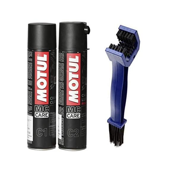 Technolube Motul C2 Chain Lube -400ml and C1 Chain Clean -400ml with Generic Bike Chain Clean Brush (Colour May Vary)