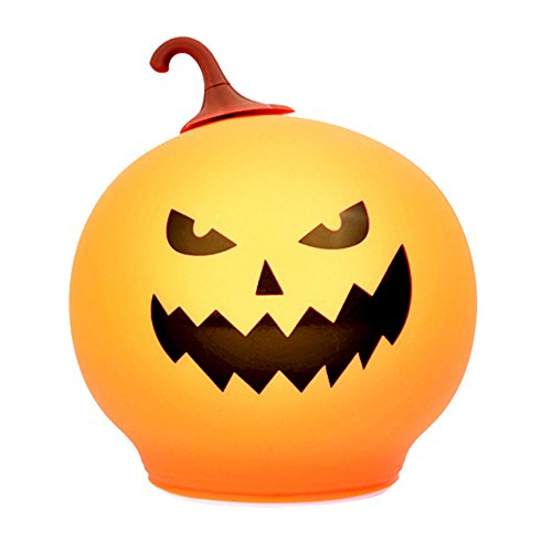 Lukovee Silicone Pumpkin Night Light, Rechargeable LED Night Light Halloween Lamp Sensitive Pat Control, Adjustable Brightness and Colorful Mood Lamps for Baby Children Boys Girls