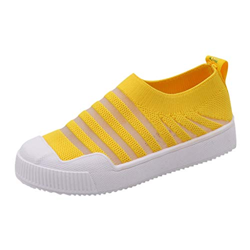 Gleamfut_Baby Kids Fly Knit Light Shoes Breathable Mesh Sports Casual Shoes Fashion Striped Flying Weaving Low-Top Children Shoes Yellow ()