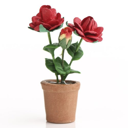 Set of 2 Miniature Terra Cotta Potted Red Roses for Dollhouses, Fairy Gardens and (Rose Fairy Doll)