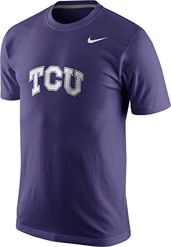 Nike TCU Texas Christian Horned Frogs Cotton Warp Speed Logo Men's T-Shirt (XL, New Orchid Purple)