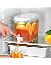 Large Fruit Infuser Water Pitcher, 118 Ounces Fruit Cool Water Pitcher with White Cap and Spigot, Iced Beverage Dispensers for Iced Tea, Juice, Beverages, Water, Lemon