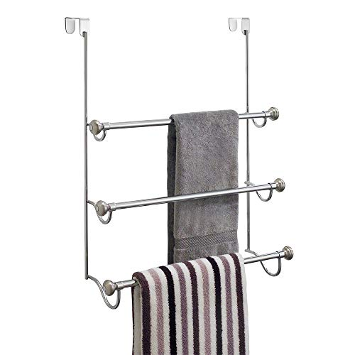 "interDesign York Over the Over the Shower Door Towel Rack for Bathroom, 1.5"" x 7"" x 22.8"", Chrome/Brushed"