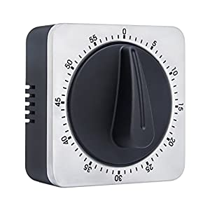 Timer Kitchen Timer 60 Minute Timing with Loud Alarm Sound Magnetic Countdown Timer Home Baking Cooking Steaming Manual Timer Stainless Steel Face Mechanical Timer