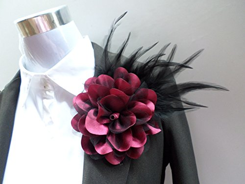 Custom Korean feather boutonniere large fabric flower brooch men and women presided over performances headdress with clothes