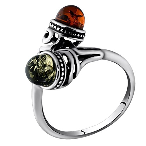 HolidayGiftShops Sterling Silver and Baltic Light Green and Honey Amber Ring Size: 9 ()