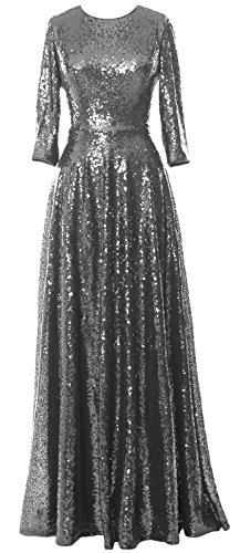 MACloth Women 3/4 Sleeve Sequin Evening Gown Vintage Mother of the Bride Dress Gris
